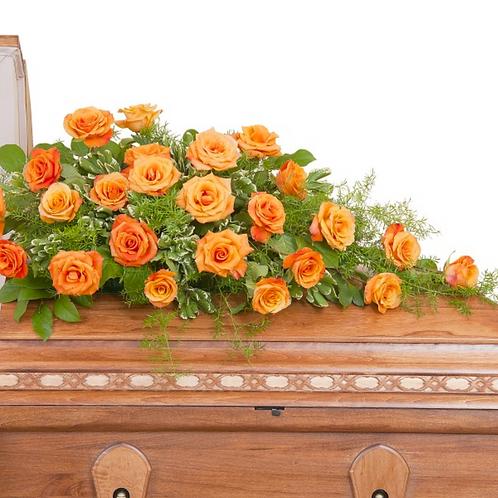 Simply Roses Casket Spray in Orange