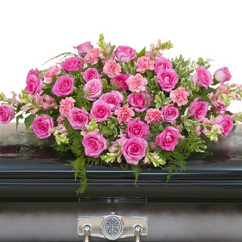 Peacefully Pink Casket Full Spray