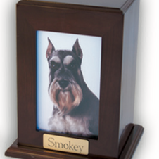 Wooden Dog Urn