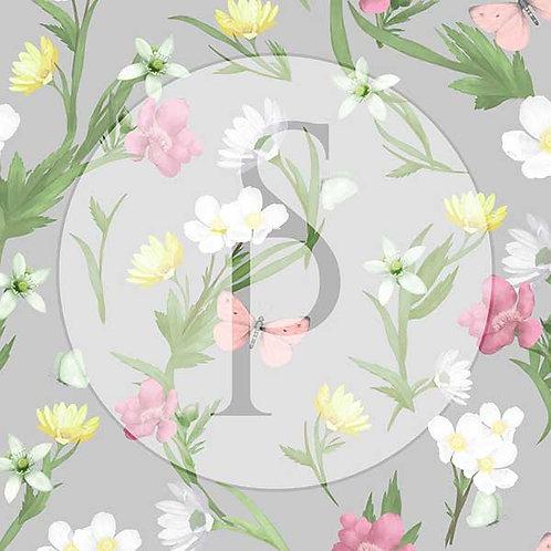 Wiosenne kwiaty z motylami - szarość
