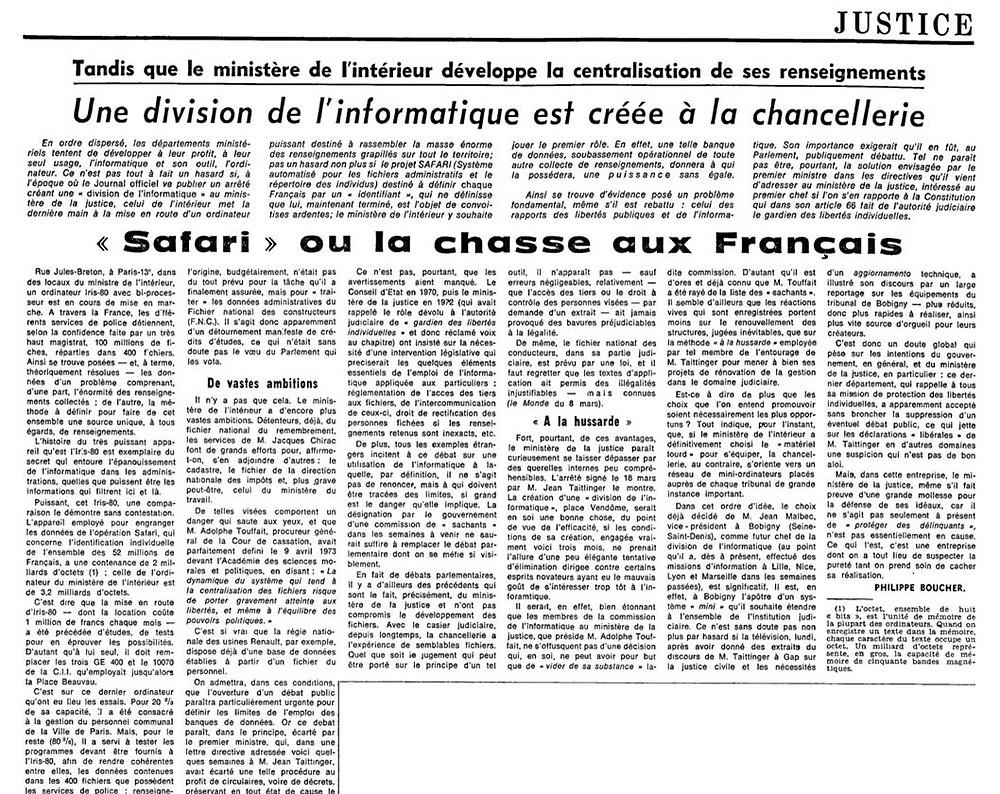 """""""Safari"""" ou la chasse aux Français"""