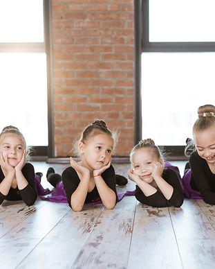 Cute little kids dancers on dance studio