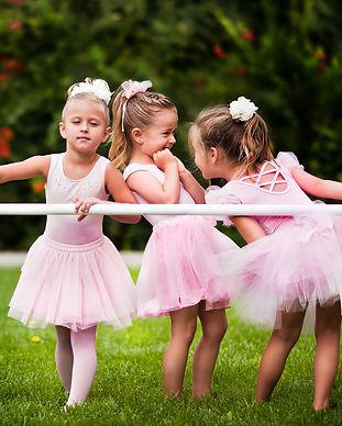 Group of little girls doing ballet bar e