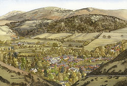 Original Art. Watercolour of Church Stretton.