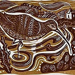 Return of the Curlews. Linoprint