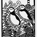Puffins. Lino Print