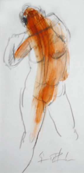 Origional Art. Life drawing, mixed media.