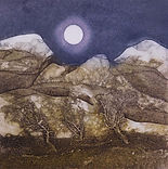 Mountains and Moon. Collagraph