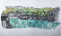 Linoprint. Along the Severn.