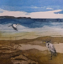 Herons. Collagraph