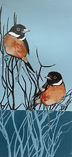 ART  Collagraph of Stonechats