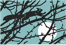 ART.  Squirrel.  Linocut.