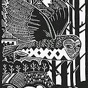 Art Print. Lino cut of Owl