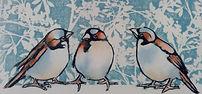 Art Print.  Sparrows.  Collagraph