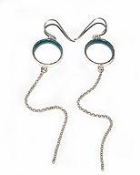 Silver and Enamel loop and chain Hook Earrings.