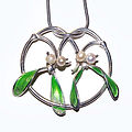 Silver, Gold and Pearl Mistletoe Pendant