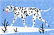 ART. Dotty dog. Linocut.