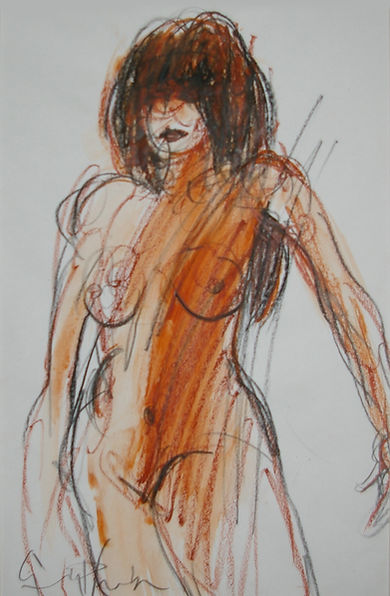 Origional Art. Life drawing in mixed media.