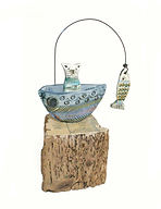 Hand Made. Cat in a Boat. Ceramic