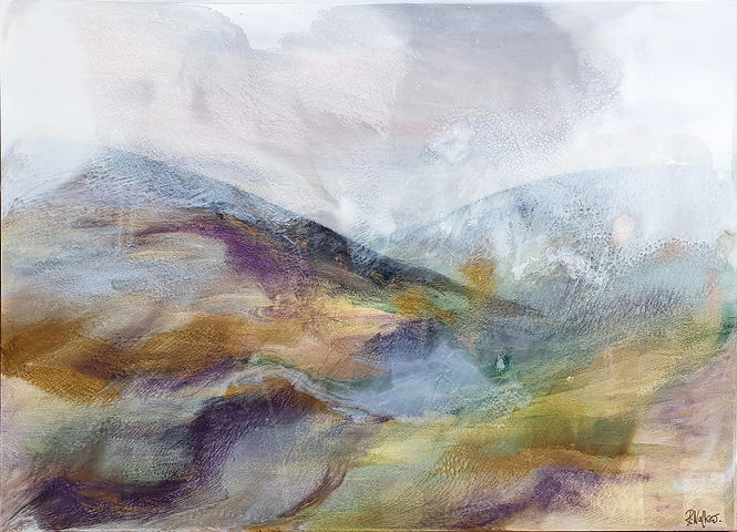 Fells in winter Acrylic and resin.