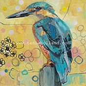 Kingfisher.  Collage on