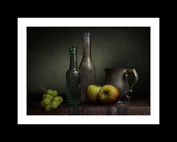 Stunning Photograph. Grapes and Two Apples.