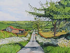 Summer on Red Lane. Print of Watercolour