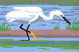 ART.  Egret fishing.  Linocut
