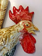 A Cacophony of Roosters. A Set of 3 Ceramic Wall Plaques