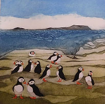 Puffins. Collagraph