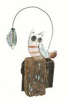 Hand made.  Owl and Leaf. Ceramic