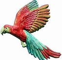 A Cry of Scarlet Macaws. A Set of 3 Ceramic Wall Plaques