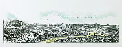 Art. Linocut. The Long Mynd, Church Stretton.