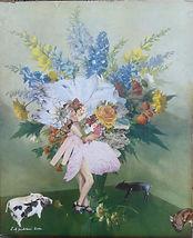 Original art. Showgirl. Collage on vintage print