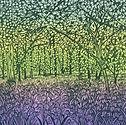 ART. Linocut. The Bluebell Wood.