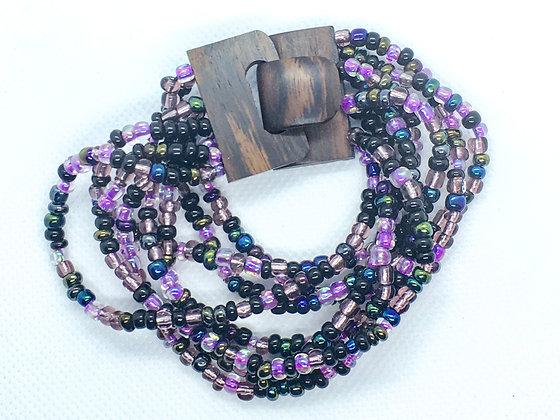 8 strand purple wooden clasp Bracelet