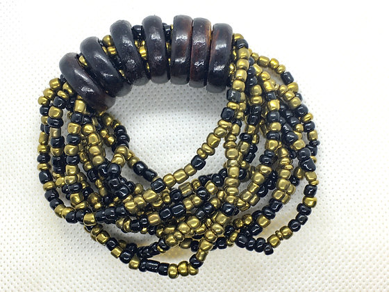 Black and gold Wood ring beaded bracelet