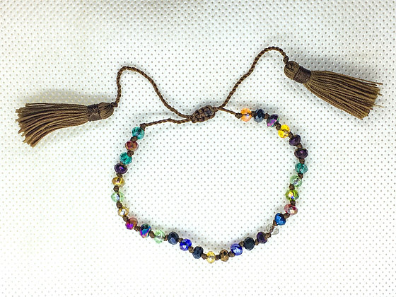 Adjustable tassel bracelet brown