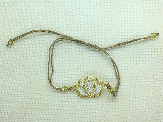 White Beaded Lotus flower String Bracelet