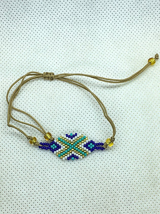 Blue Hexagon beaded string bracelet