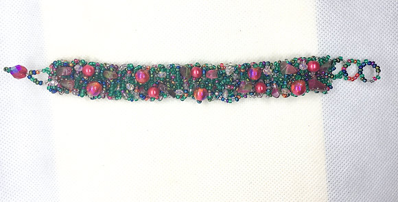 Green and red Guatemalan bracelet