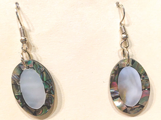 Grey Oval shell earrings