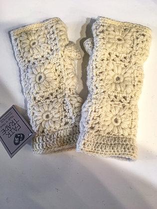 Off White Floral Granny Square Fingerless Gloves