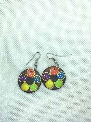 Flower Circle wooden earring