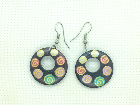 Wooden spiral painted earring