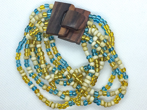 8 strand blue and tan  wooden clasp Bracelet