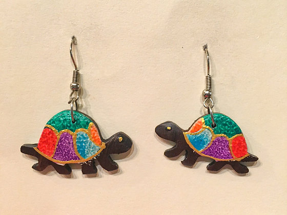 Rainbow with gold Walking Turtle Wooden Earring