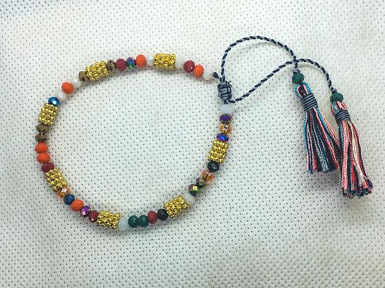 Multicolored and gold tassel bracelet