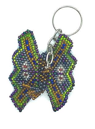 Beaded blue butterfly keychain
