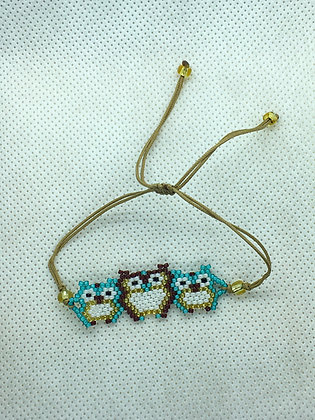 Blue and Brown Triple Owl Beaded bracelet
